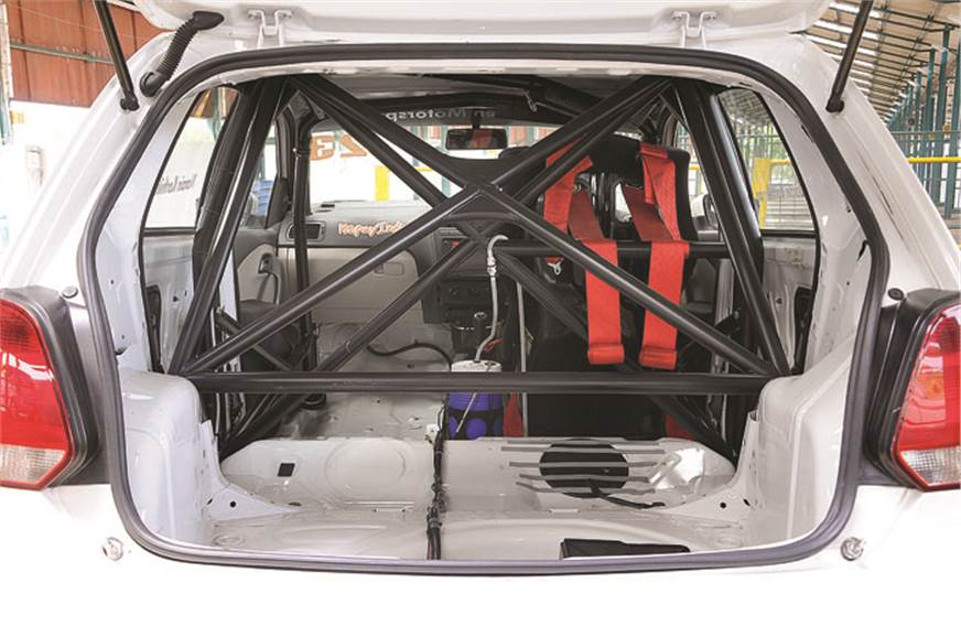 Cup car's boot sports heavy duty roll cage.