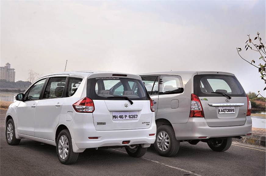 The Innova is longer and wider. Both have distinctly van-...