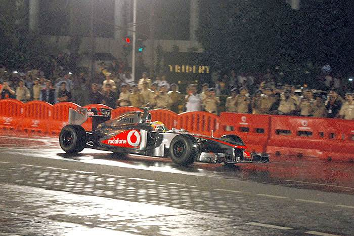 Hamilton drives F1 car through BKC