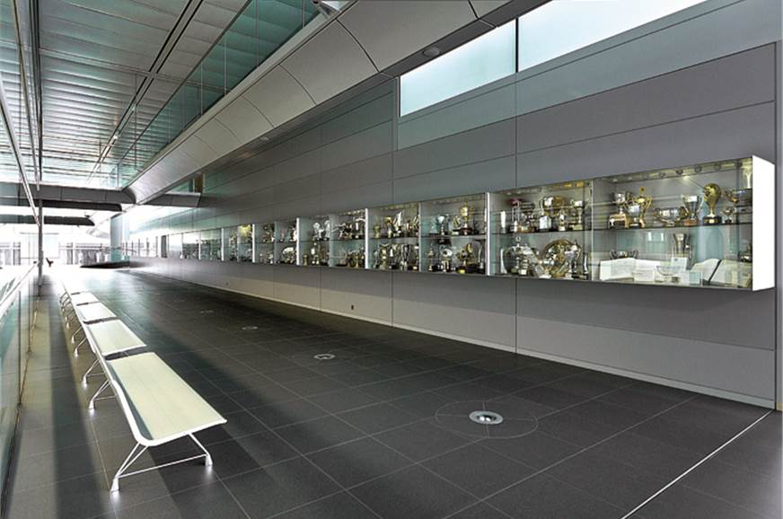 Large trophy cabinet showcases McLaren's success in the l...