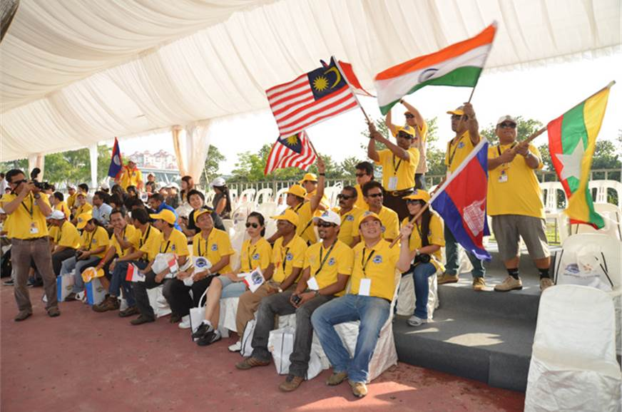 Participants awaiting the flag-off of the 8000 km adventure.