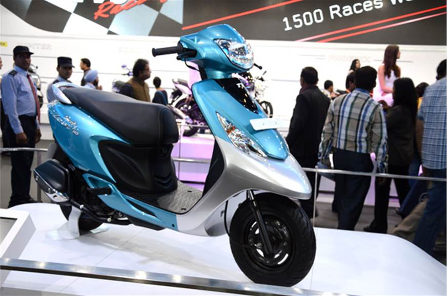 TVS Scooty Zest was seen at the 2014 Auto Expo;