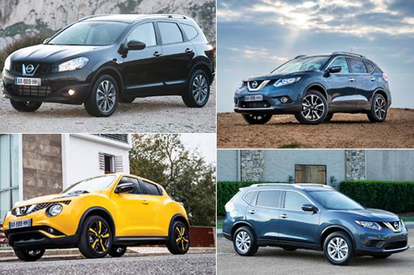 From top left: Nissan Quashqai+2; top right: Nissan X-Trail; bottom left: Nissan Juke; Bottom right; Nissan Rogue
