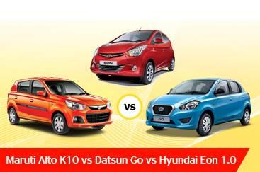 New Maruti Alto K10 vs Hyundai Eon 1.0 vs Datsun Go ...