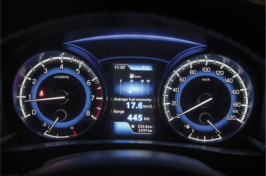 Instrument panel with vivid blue lighting stands out. TFT...