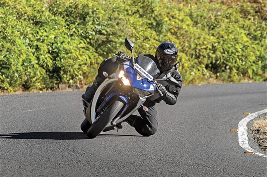 The Yamaha YZF-R3 runs on rails when attacking corners.