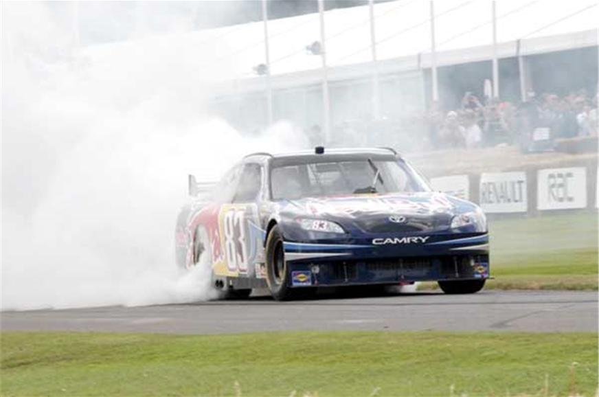Toyota Camry + V8 + rear-wheel drive = Holy smoke.