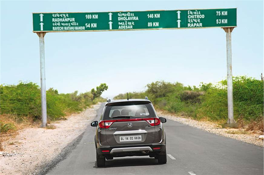 146km of arrow-straight highways to Dholavira.