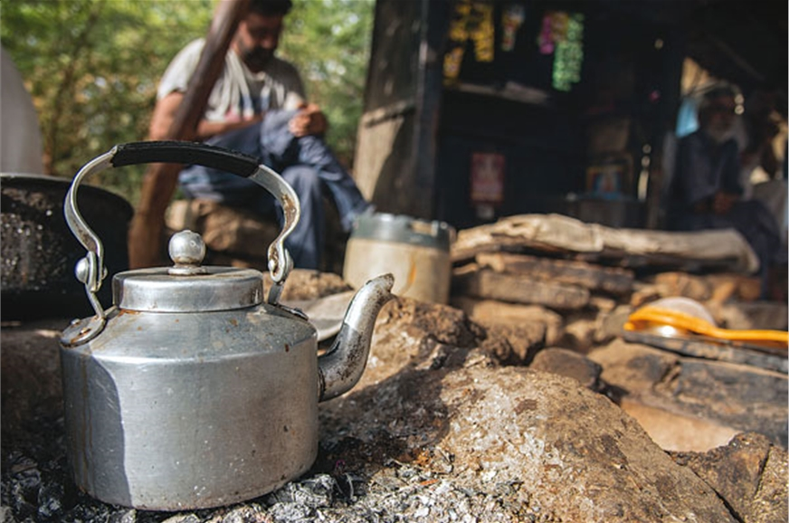 Tea made over firewood; we weren't complaining.