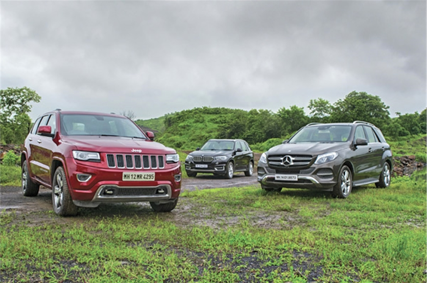 jeep grand cherokee vs mercedes gle vs bmw x5 comparison autocar india. Black Bedroom Furniture Sets. Home Design Ideas