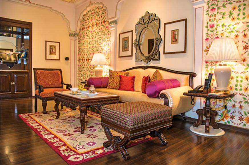 The Crystal Suite at the Jai Mahal Palace boasts Rajput-s...