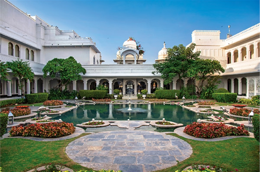 The lily pond at the Taj Lake Palace, Udaipur once the pe...
