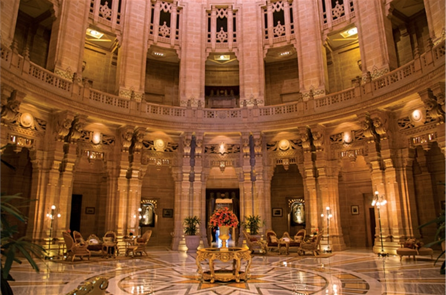 The central atrium of Umaid Bhavan, with its marble floor...