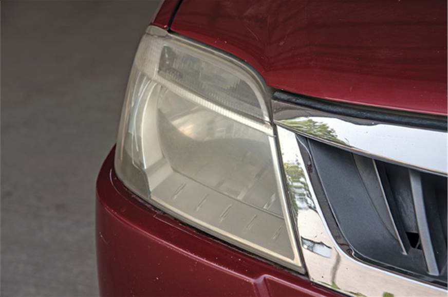 Discoloured headlights reduced effectiveness.