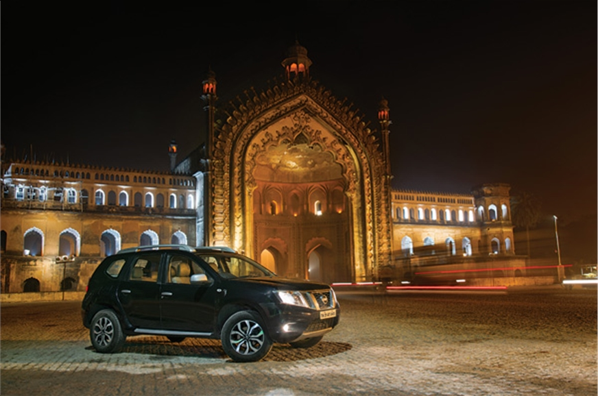 The Terrano stands proud at Lucknow's iconic Rumi Darwaza.
