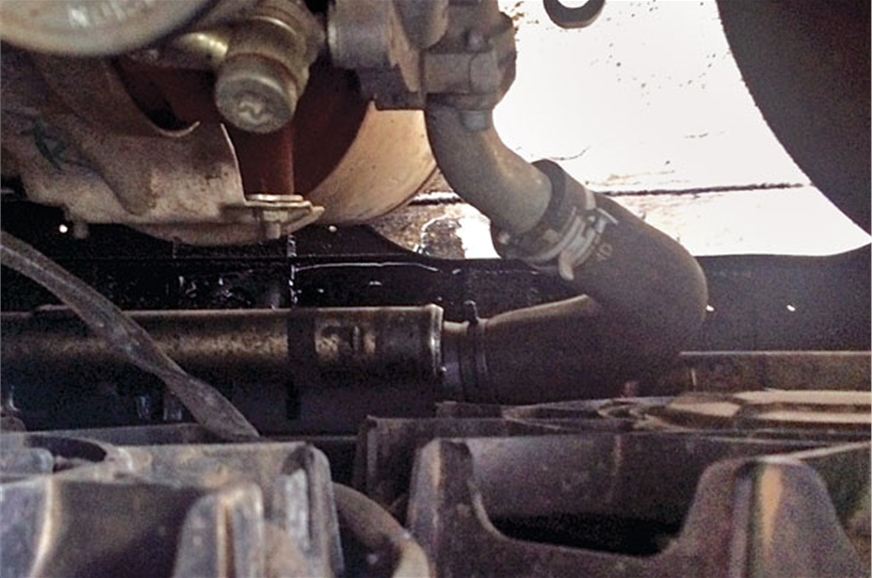 The intercooler hose which popped off is very hard to reach.