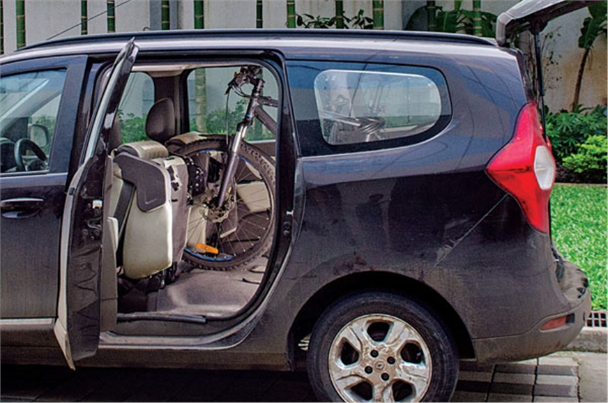 Our staffer Siddhant's bicycle fit perfectly in the MPV's...