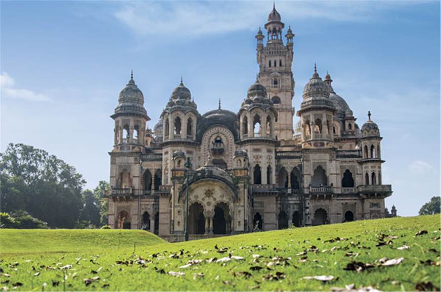 The sprawling Laxmi Vilas Palace features fine, intricate...