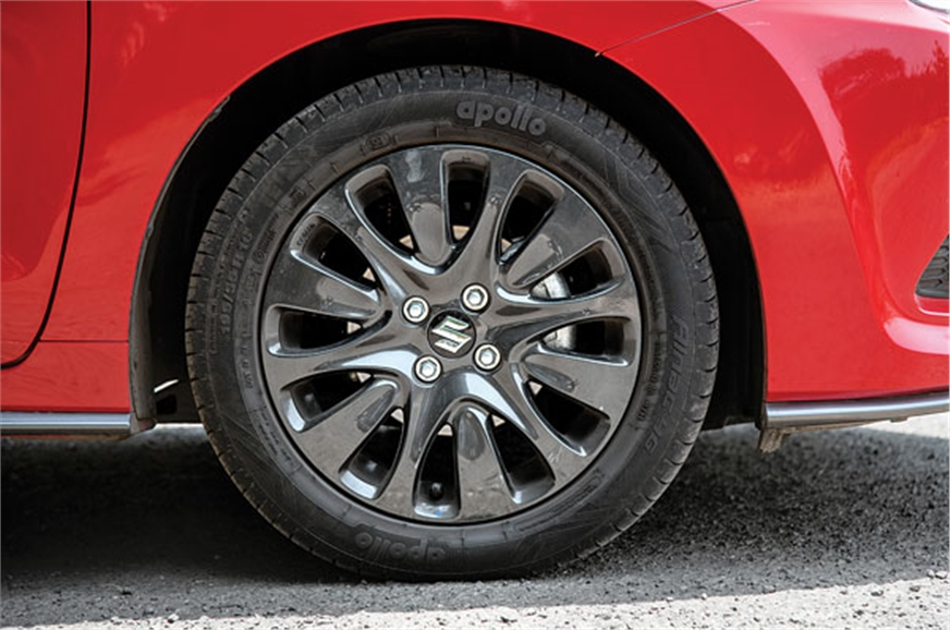 RS' wheels identical to standard Baleno's, but black.