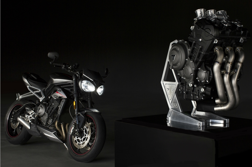 The 765cc, three-cylinder engine is based on the Triumph ...
