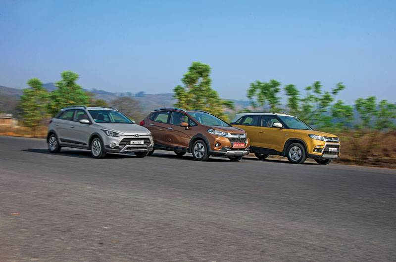 Honda WR-V vs Hyundai i20 Active vs Maruti Vitara Brezza comparison