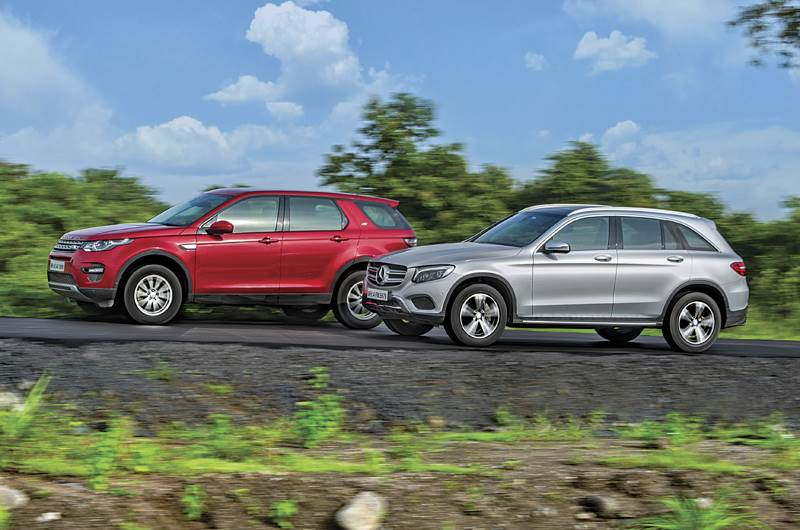 Mercedes GLC300 vs Land Rover Discovery Sport petrol comparison