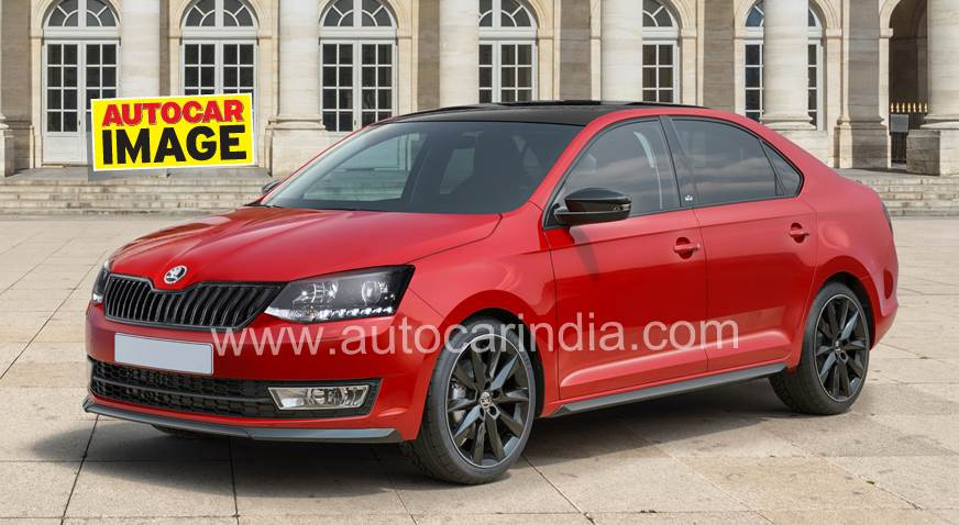 India-spec Skoda Rapid Monte Carlo computer generated rendering.