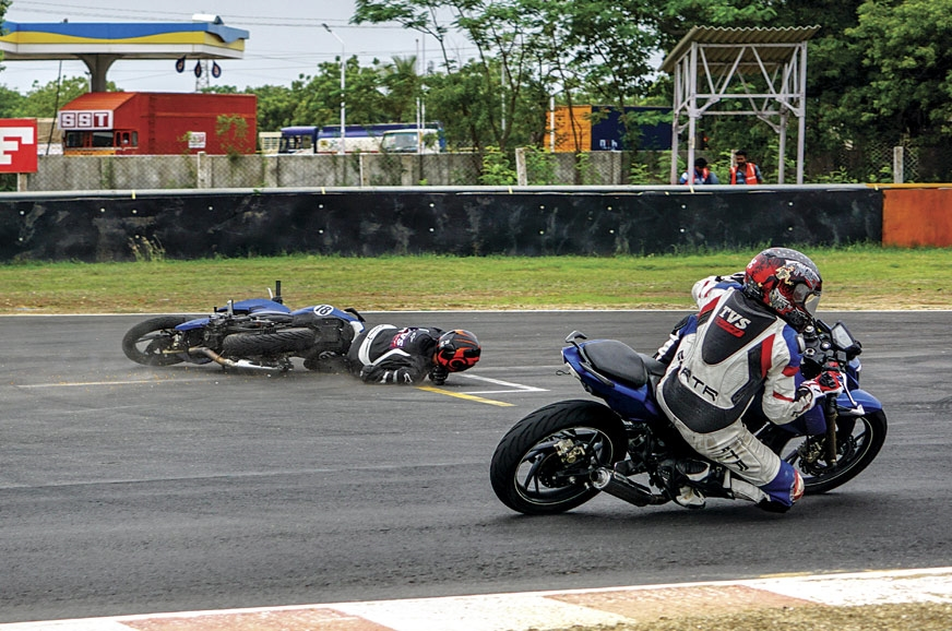 As I slide, my friend above rides on to finish third!