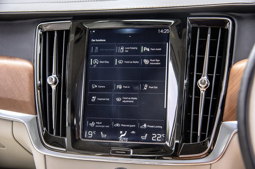 Volvo's unique verticle screen houses most of the car's f...