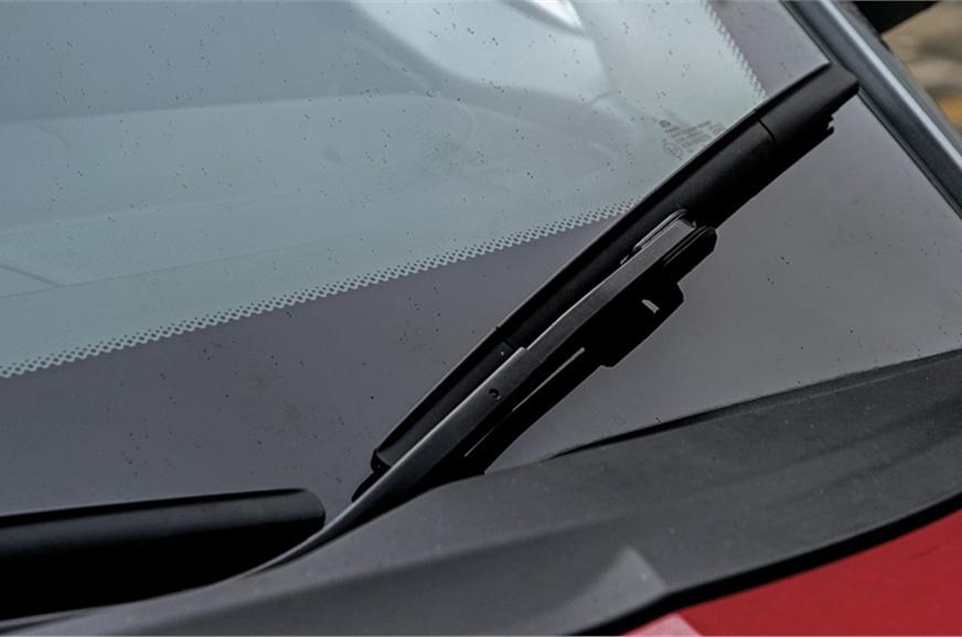 Front left windscreen wiper kinked awkwardly to maximise ...