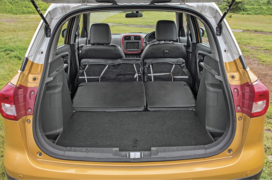 The Brezza's rear seats fold to form a flat floor.