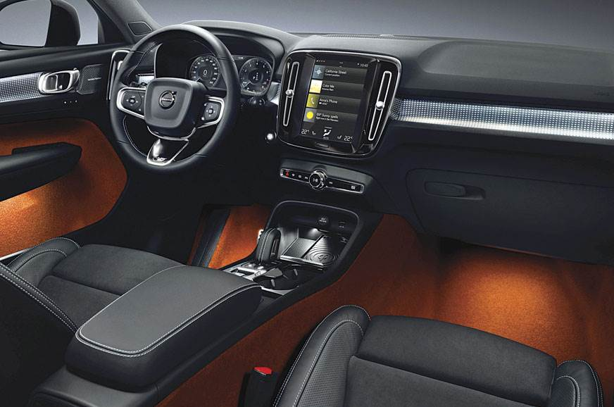 The XC40 retains the bigger cars' basic interior template...