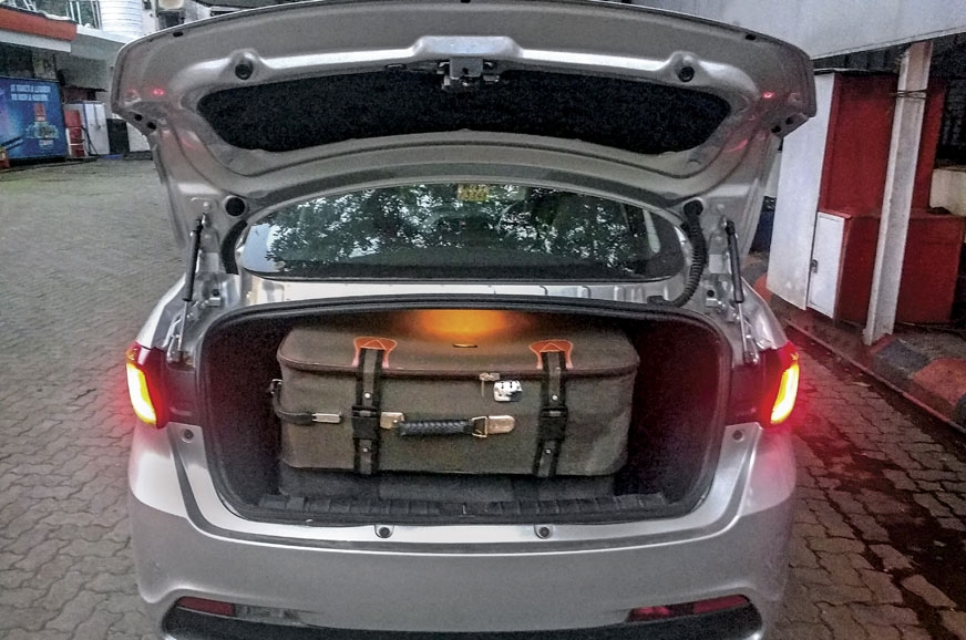 IN THE MEGA TRUNK: 419-litre boot holds two big bags with...