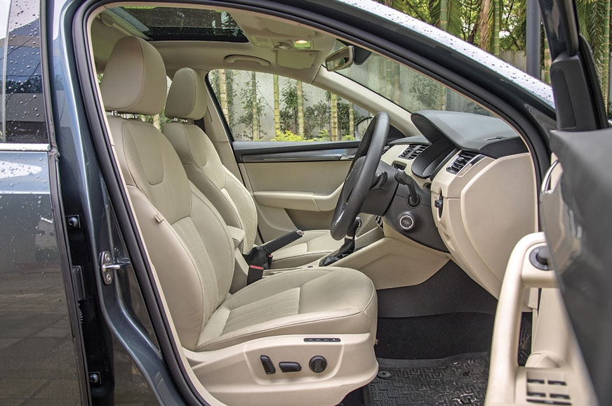 The Octavia's front seats are large and offer good support.