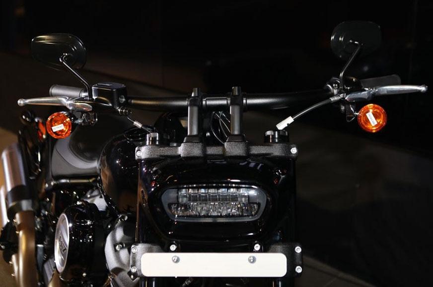 Distinctive LED headlight on the Fat Bob.