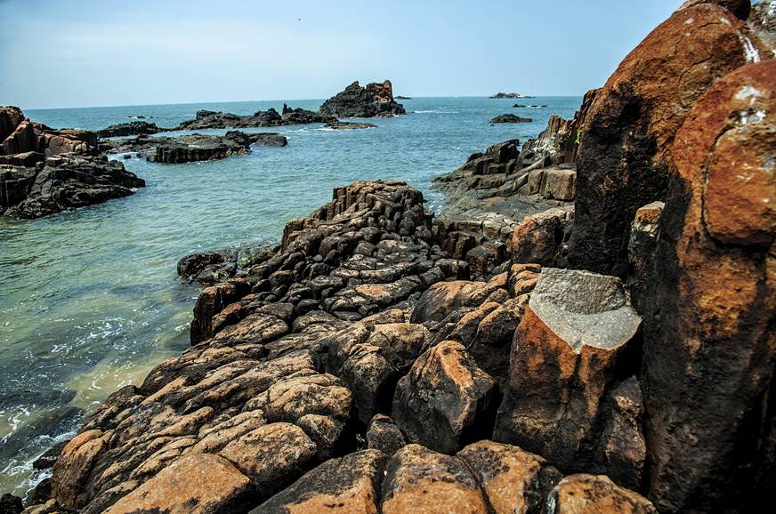 The rocks at St. Mary's Islands are hexagonal in shape, c...