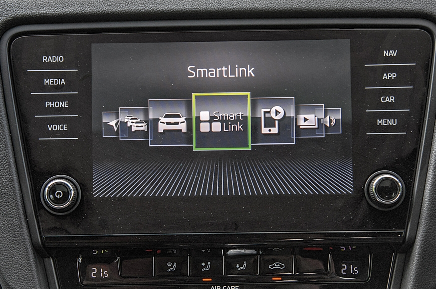 The Skoda's touchscreen is slick to use and doubles as ca...