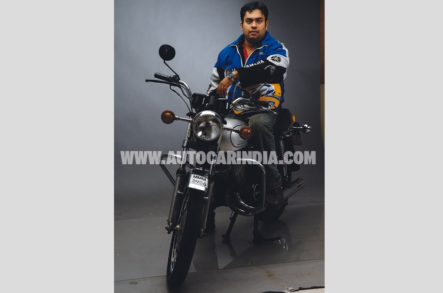 Alok Balsekar astride his pride and joy.