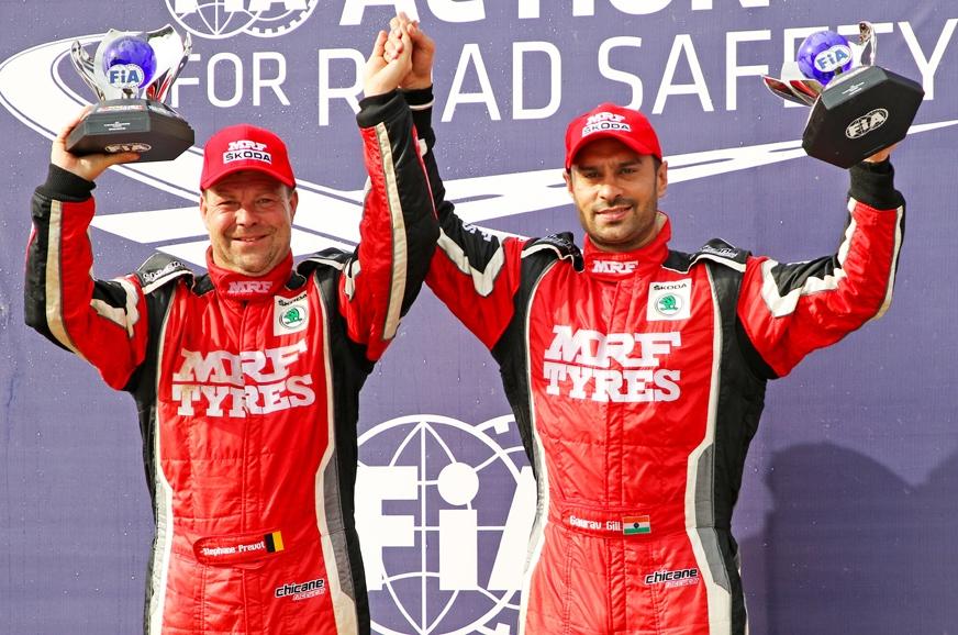 Gaurav Gill (right) and co-driver Stephane Prevot (left) ...