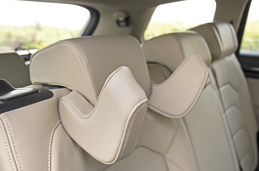 The Skoda comes with neck support for rear passengers.