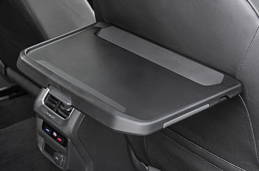 Foldable trays in the Tiguan's back.