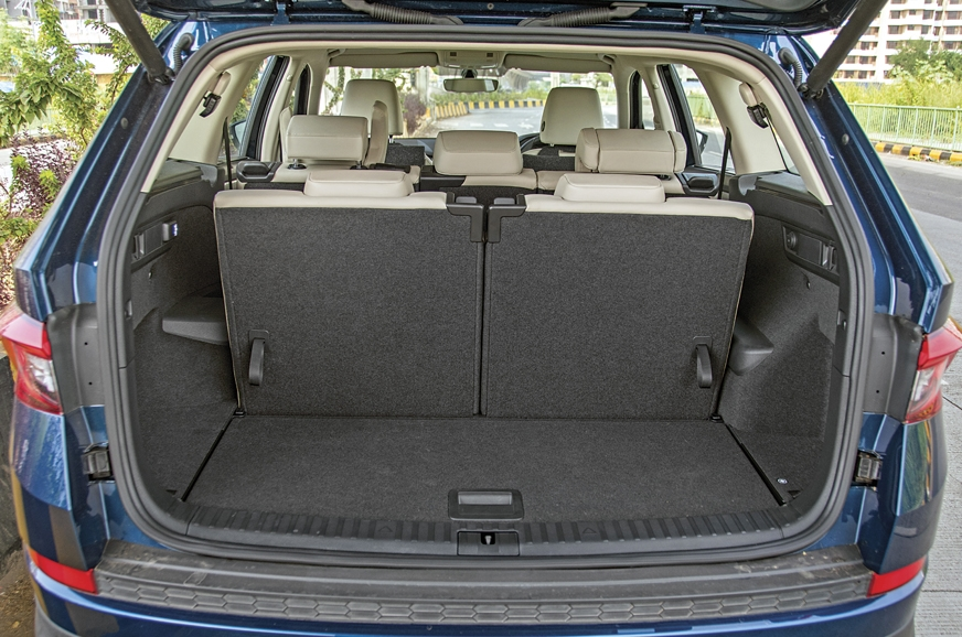 The Skoda gets 270-litre boot with the third row up but i...