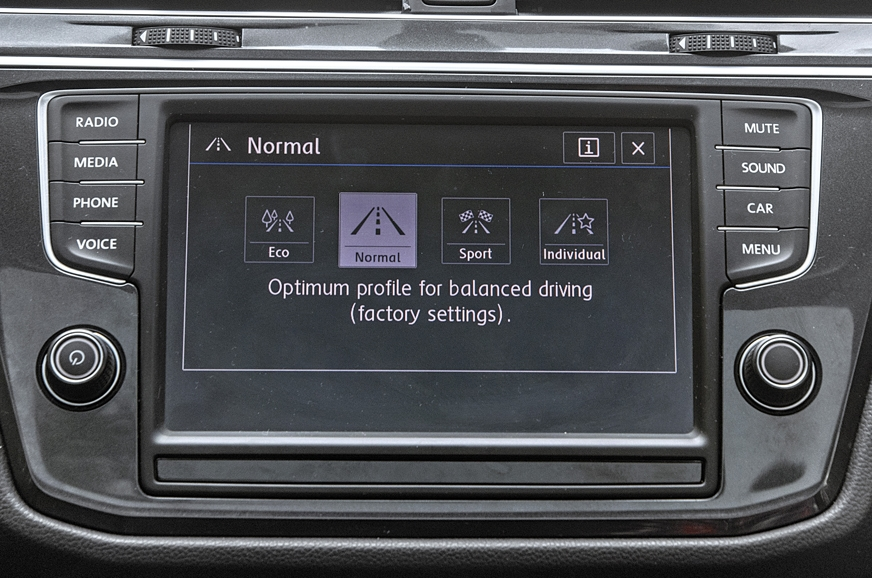 Tiguan's 6.5-inch touchscreen is smaller but it too is re...