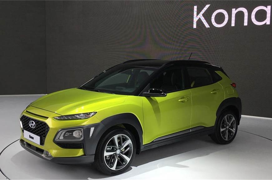 The Hyundai Kona EV showcased at the 2017 Frankfurt motor...