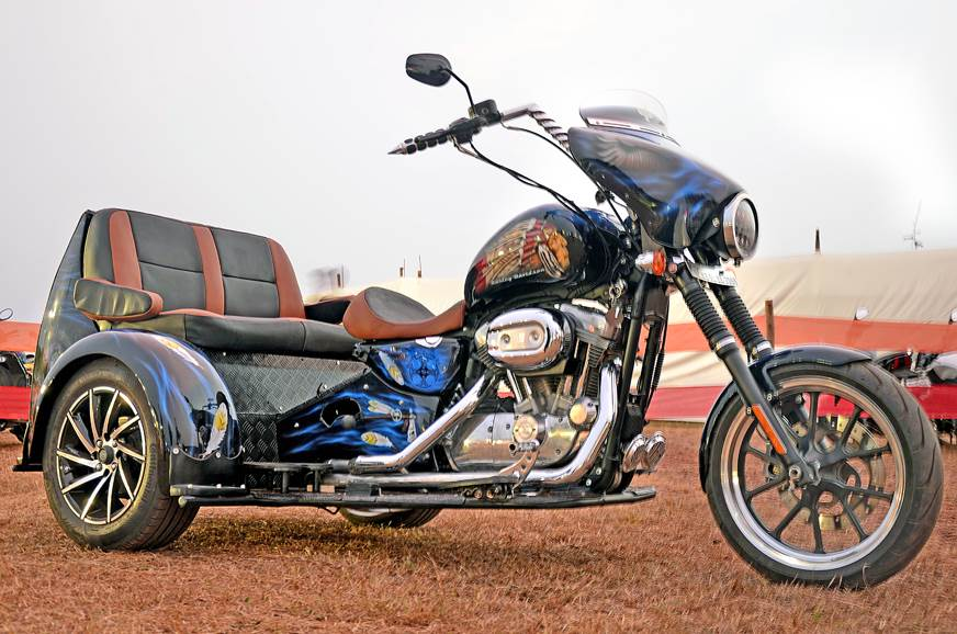 The custom built Harley-Davidson three-wheeler.