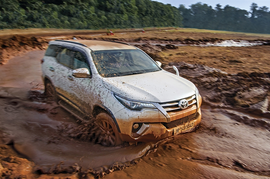The Toyota Fortuner powers through the slush pit.