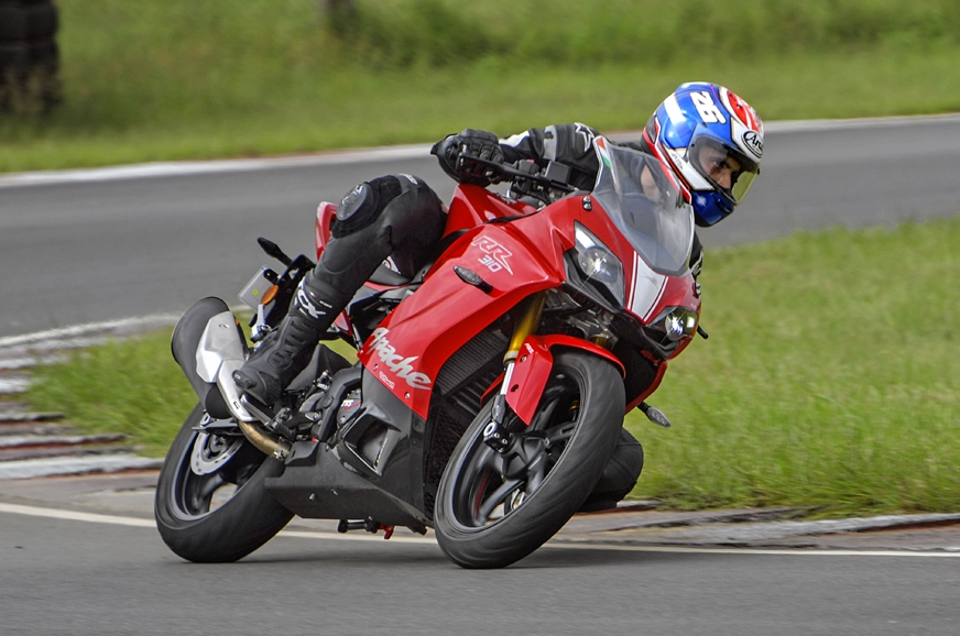 The Apache 310 RR is forgiving in the corners.
