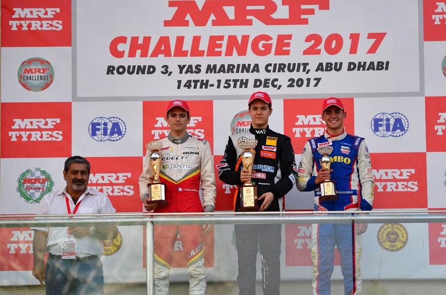 Left to right: Vicky Chandhok, Falchero, Drugovich, Kalmt...