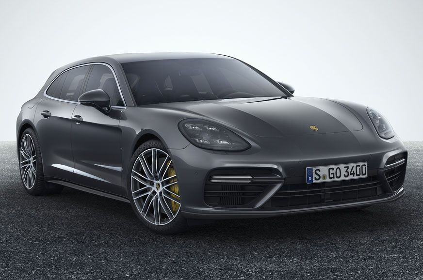 The front of the Porsche Panamera Turbo Sport Turismo loo...