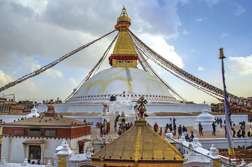 The Swayambhunath Stupa in Kathmandu is perched atop a hi...
